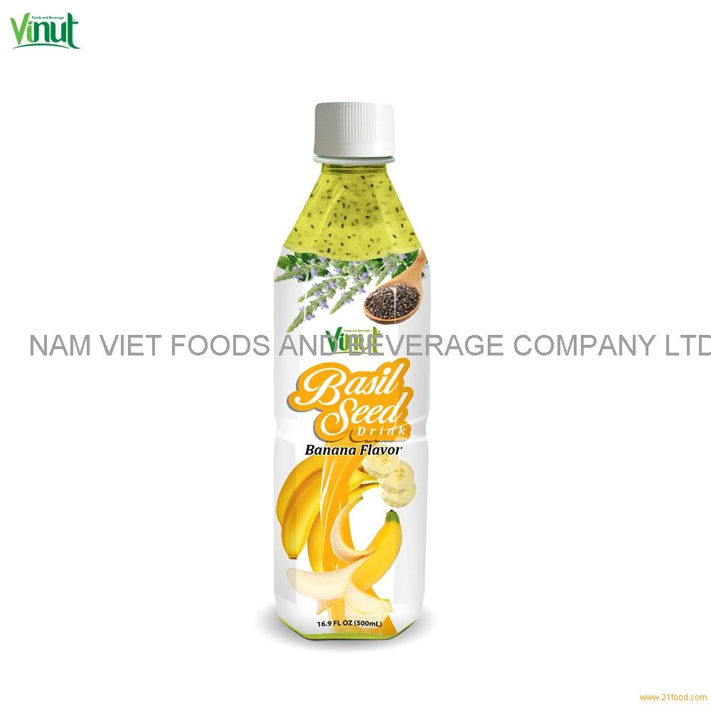 500ml VINUT Bottle Basil seed drink with Banana flavor Passion Fruit Basil Seed Juice Drink
