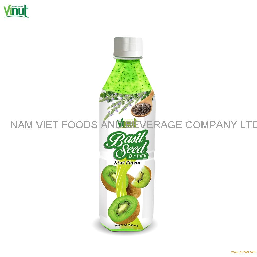 500ml VINUT Bottle Basil seed drink with Kiwi flavour Basil Seed For Juice