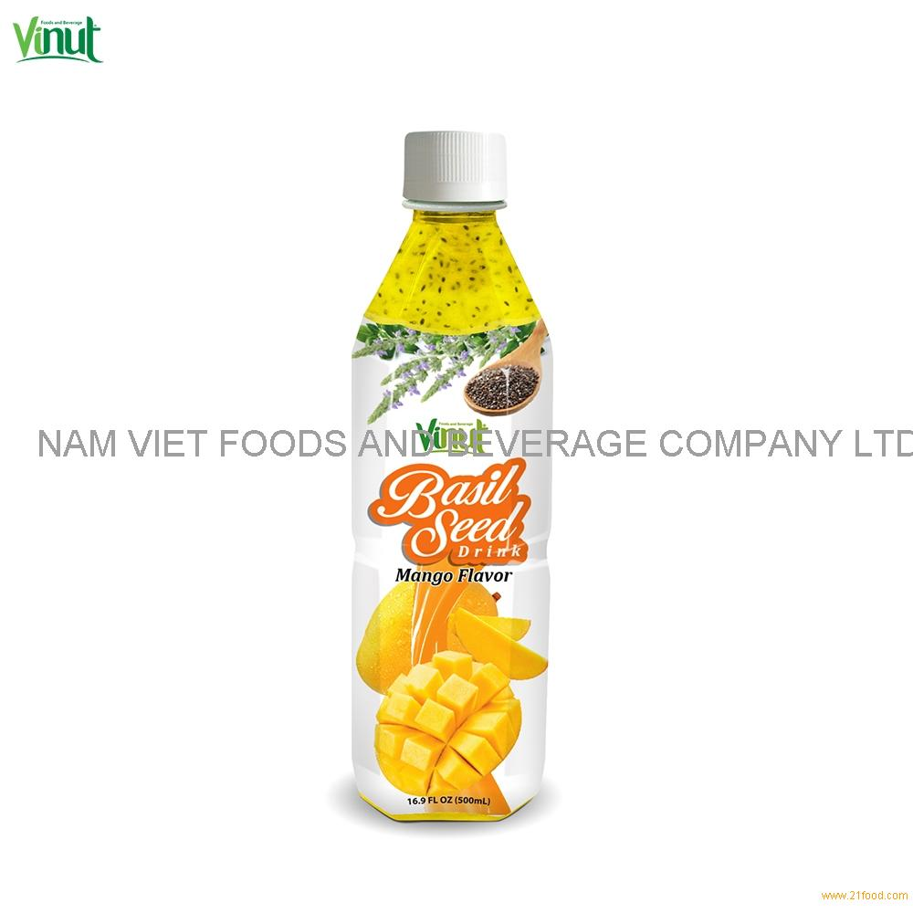 500ml VINUT Bottle Basil seed drink with mango flavour Seed Basil