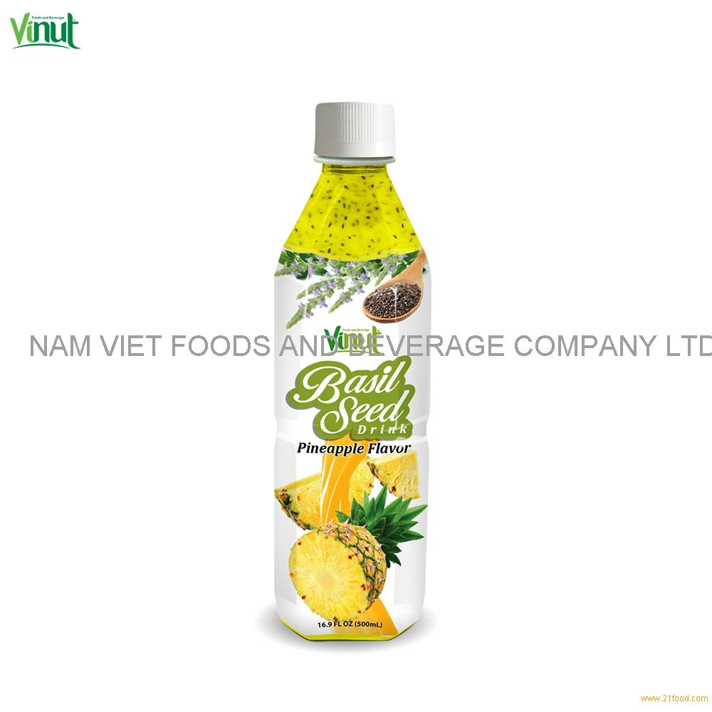 500ml VINUT Bottle Basil seed drink with Pineapple flavour Basil Seed Drink Thailand