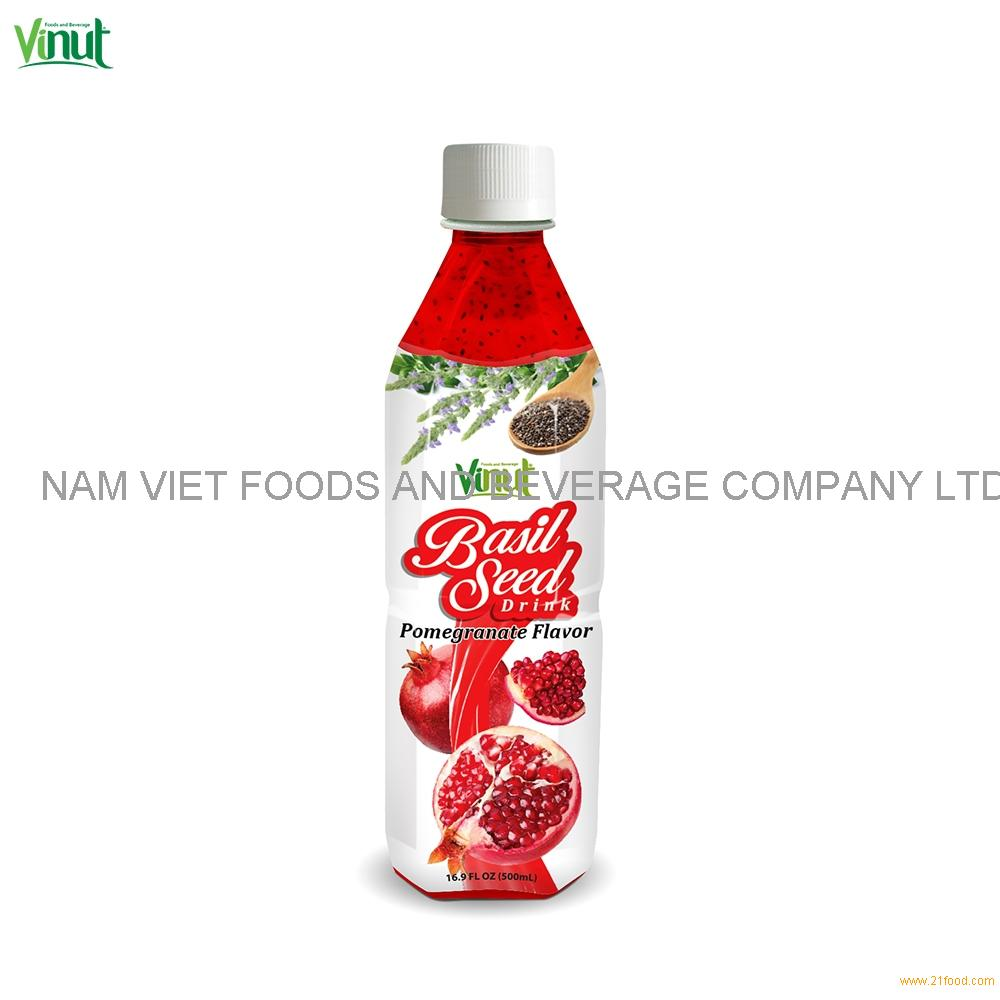500ml VINUT Bottle Basil seed drink with Pomegranate flavour New Healthy Basil Seed Drink Thailand