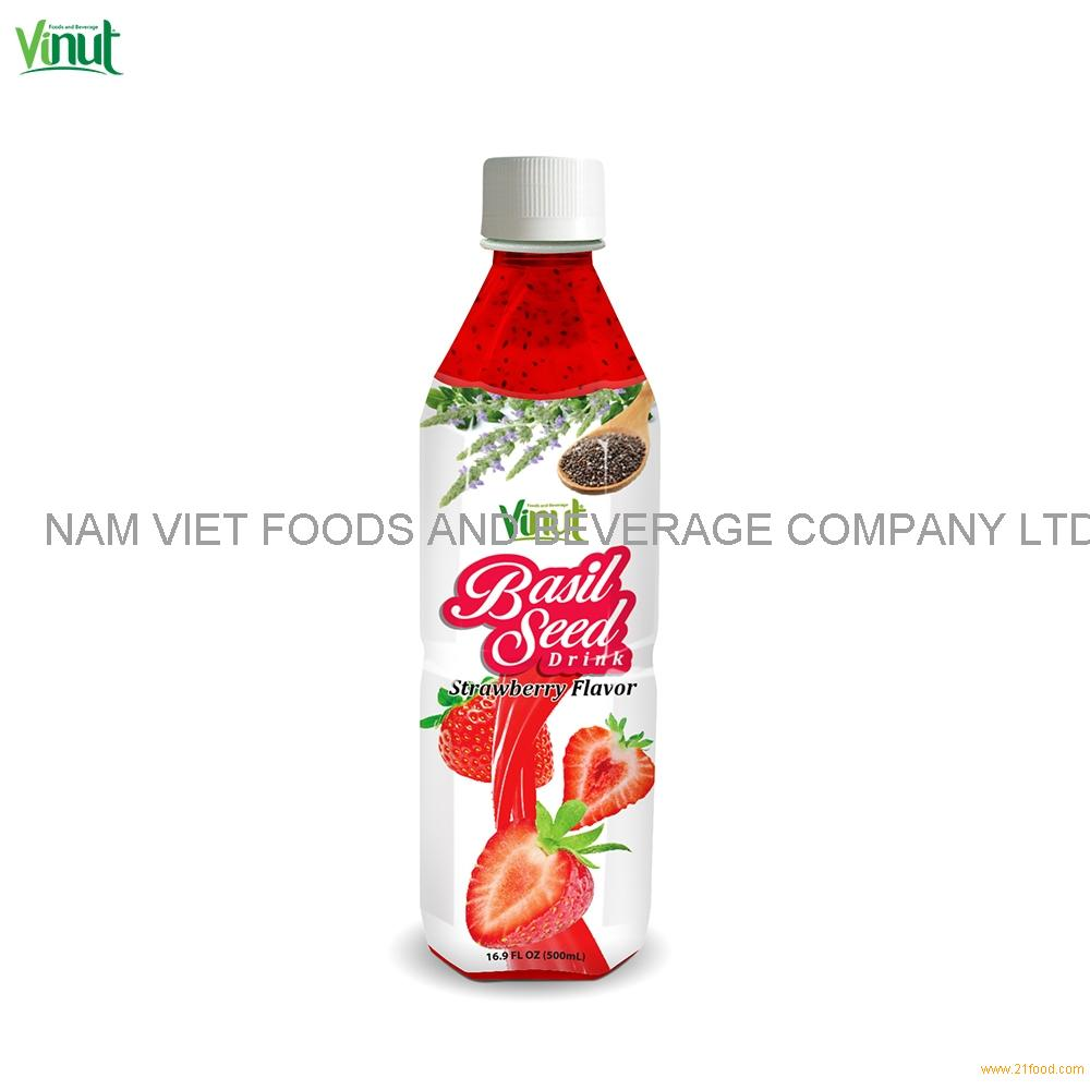 500ml VINUT Bottle Basil seed drink with Strawberry flavour Basil Seed Juice