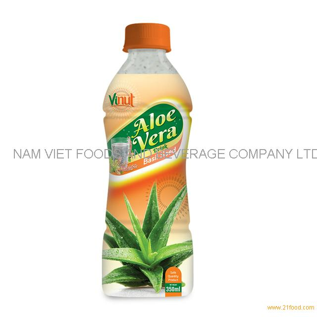 350ml Bottle Natural Aloe Vera Juice with Basil seed juice