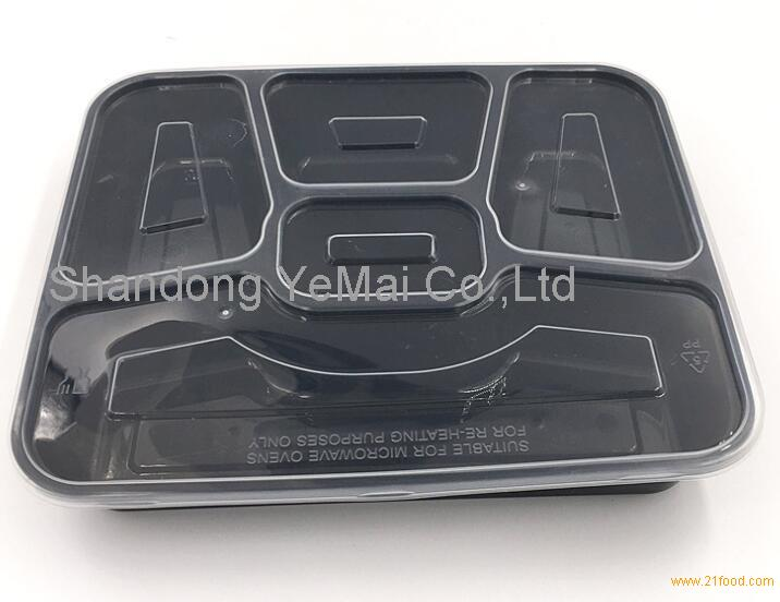 5 partition fruit fresh-keeping package lunch box,PP disposable packaging container