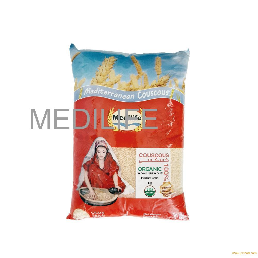 Organic Couscous Whole Hard Wheat Medium Grain 1 Kg bag