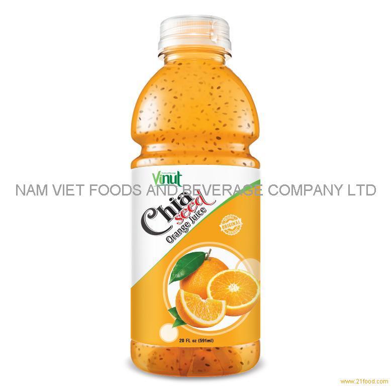 20 fl oz VINUT Bottle Chia seed drink with Orange Juice