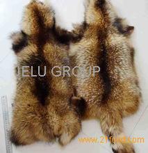 Genuine Animal Skin Raccoon Dog Fur / Real Natural Fur Skin / White
