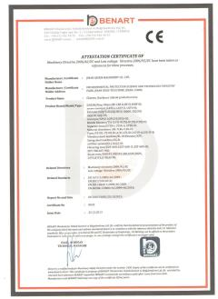 CE  CERTIFICATE of chetetos production line