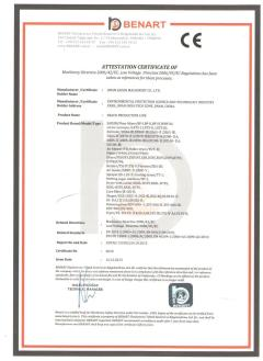 CE  CERTIFICATE of snack production line