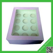 Professional 12 holes cardboard cupcake box wholesale with some color for chosen