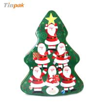 Christmas tree shape candy tin box