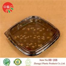 Clear square plastic disposable sushi tray with lid