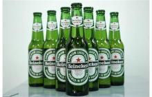 Green Bottles Pack Cans Beer ---Heinekens.