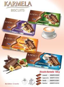 Coated biscuits Karmela 160g