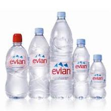 Evian Natural Mineral Water available in all sizes.