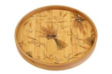 Tea Color Painting Round Bamboo  Wooden   Tray  Charger Plate