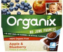 Organix Organic Fruit Apple & Blueberry puree 4mth+ (100g x 4)x6