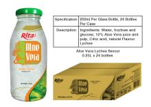 Aloe vera lychee juice 250ml glass bottle