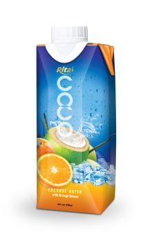 Tetra pack coconut water with Orange