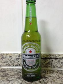 Green bottled Heineken beer