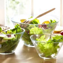 salad glass bowl, glass plate, glass saucer, glass dishes