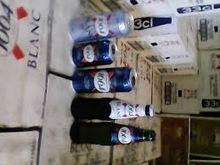 Kronenbourg 1664 blanc beer in blue 25cl and 33cl bottles and 500cl Cans