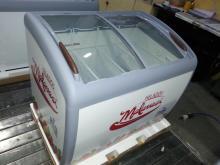 curved glass door ice cream display freezer