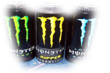 Monster Assault, Lo Carb, Energy green, Ripper Yellow, Khaos 500ml