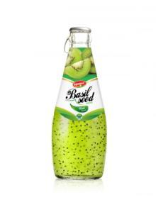 Fruit Juice Basil Seed Drink Kiwi Flavour In Glass Bottle