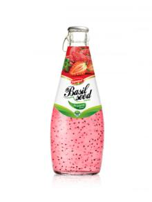 Fruit Juice Basil Seed Drink Strawberry Flavour In Glass Bottle