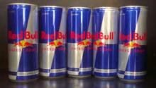 Blue Canned Red Bull energy drinks