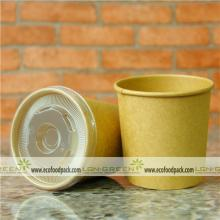 kraft soup cup with plastic lid