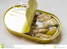 Canned oil sardine fish.