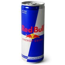 red bull energy drink and other asorted drinks