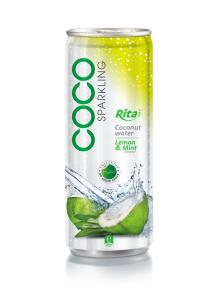 250ml Lemon & Min flavor Sparkling Coconut Water