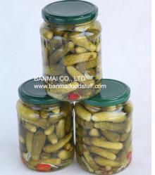 Pickled gherkin in glass jar