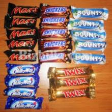 Snicker Chocolate Bar, Twix, Bounty, Mars, Nutella, M&M,Pringles, Kitkat, Galaxy