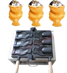 110v/220V 3 pcs big fish Ice Cream Taiyaki maker machine with open mouth