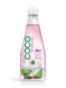 300ml Pet bottle Strawberry flavor Sparkling Coconut Water