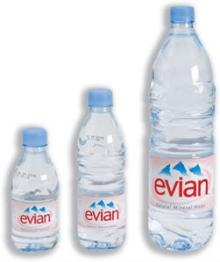 Evian mineral water 330 ml PET bottle and others