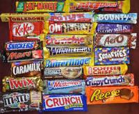 Chocolate Bars Bounty, Twix, Mars, Snickers, Milky Way, Galaxy