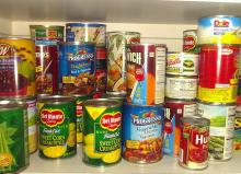 New stock of canned food for sales