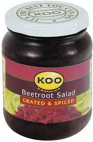greted and spiced beetroot in jar