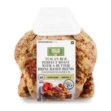 Our Tuscan Herb Perfect Perfect Chicken Roast with a butter brined-based blend can be served with a