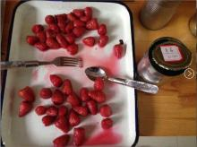 Fresh Canned fruit strawberry in syrup
