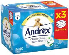 Andrex Washlets Flushable Classic Clean Toilet Tissue Wipes