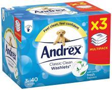 Andrex Washlets Flushable Classic Clean Toilet Tissue Wipes
