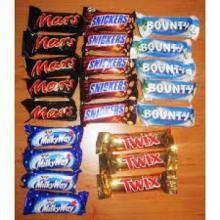 Nutella, Kinder Joy, Snickers, Mars, Bounty Twix, Kitkat, kinder suprise