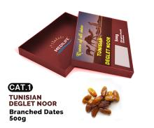 Dates Deglet Nour on Branch, High Quality Dates 500gr Carton Box